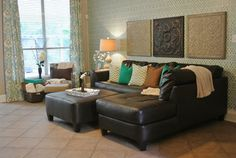 Adorable Blue and Green Living Room www.thestagedstyle.com