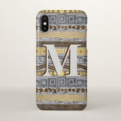 Mixed Metals Monogram ifonX Cool Faux Metallic iPhone X Case - pattern sample design template diy cyo customize