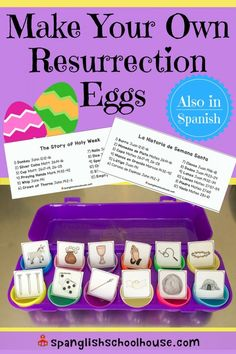 Looking for bilingual Easter resources? Check out detailed instructions to make your own Resurrection Eggs in Spanish and LOTS of free Holy Week printables. Holy Week Activities, Easter Activities, Elderly Activities, Space Activities, Bible Activities, Church Activities, Indoor Activities, Bible Crafts For Kids, Easter Crafts For Kids