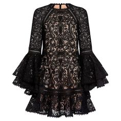 Alexis  - Veronique Ruffle Lace Bell Sleeve Flared Mini Dress ($523) ❤ liked on Polyvore featuring dresses, mini dress, short flared dresses, lace dress, alexis dresses and tiered ruffle dress