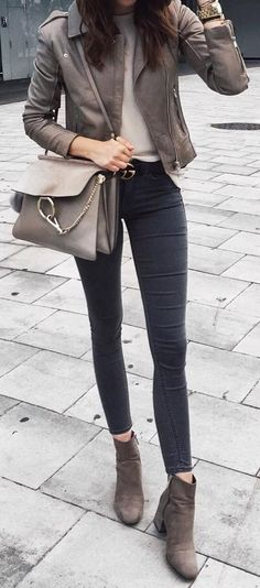 Grey Leather Jacket // Suede Ankle Boots // Black Skinny Jeans // Leather Shoulder Bag                                                                             Source
