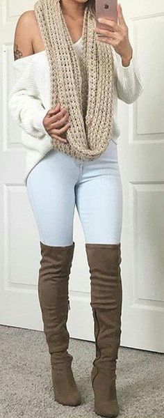 #fall #outfits  women's brown infinity scarf, brown boots, and white sweater outfit