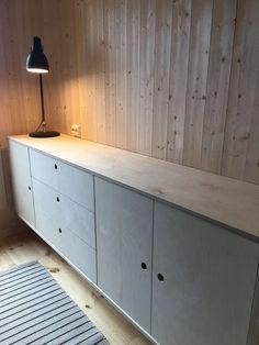 IKEA kjøkkenskrog med STUDIO10 fronter i kryssfiner. #ikea #kryssfiner #plywood #kjøkken #kitchen #livingroom #storage