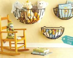 great idea to store items! Hanging garden planters.