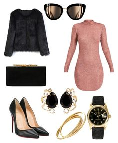 Untitled #76 by fashionstyleideas4now on Polyvore featuring polyvore, fashion, style, Chicwish, Christian Louboutin, Jimmy Choo, Rolex, Bounkit, Cartier and clothing
