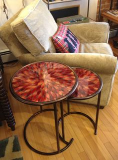 New glass mosaic nesting tables in the showroom. #design #mosaic #table