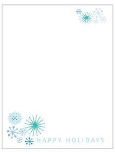 Winter Snowflake Happy Holidays Letter