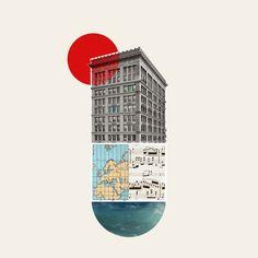 oleg borodin art colour collage design buildings