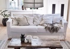 """I get countless questions about my furniture. It's an IKEA Karlstad sofa and armchair with beautiful white fabric covers @bemzdesign"".  Lotta @atelje18 in Sweden  Karlstad 3 seater sofa cover, Loose Fit Urban Absolute White Rosendal Pure Washed Linen Designed by Bemz"