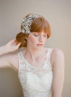 Gunmetal floral crystal headband
