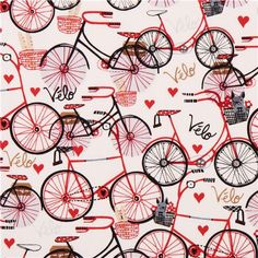 off-white bike heart fabric by Timeless Treasures 1