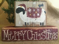 Primitive Country Sheep Crow Merry Christmas 2 pc Shelf Sitter Wood Block Set #PrimtiveCountry