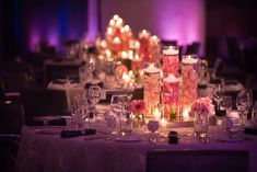 Orchids Submerged in Water Centerpieces | The final touch were the guest favors, customized keepsake baseballs ...