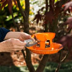 "Make a bird feeder: Using fishing wire and a large needle, sew the end of a duct connector to a pie plate. Cut the fluted rim off another pie plate, and sew the disk to the top of the connector, bending the edges to create a ""roof."" Poke drainage holes in the bottom plate; coat with water-based paint, if desired. Thread wire through the top to hang, and fill with seed. 