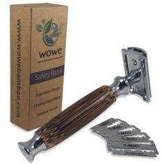 """- 4.2"""" LONG HANDLE for a more comfortable shave - SMOOTH AND NATURAL BAMBOO HANDLE for a sleek modern look. Bamboo is also environmentally friendly, repels water and won't splinter - PRECISION ENGINEE"""