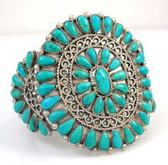 Old Pawn Zuni Sterling Silver Turquoise Petit Point Cluster Cuff Bracelet | J LO