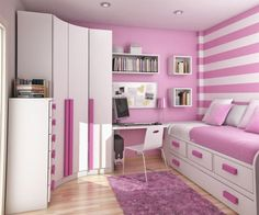 Bedroom, Cool Teen Room Decorating Ideas For Girl With Fabulous Pink Wall And Trendy Curvy Closet Plus Bunk Bed ~ Fantastic Teen Bedroom Decoration