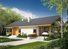 Eryk (z wiatą) - zdjęcie 4 Modern Bungalow, Bungalow House Plans, Bungalow House Design, Simple House Design, Modern House Design, House Ceiling Design, Weekend House, Family House Plans, Shed Homes