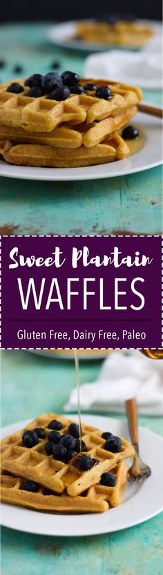 Flourless, sugar free waffles made from ripe plantains and coconut oil. (Gluten free, Vegan, AIP, Paleo)