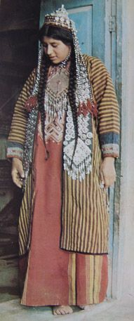 Central Asia | Turkomen woman in traditional dress | Photographer unknown, image via UT Knoxville;