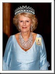Camilla, wearing the Cambridge Lover's Knot Tiara that was a wedding gift from the queen to Princess Diana. She wore so frequently. Sad day that Camilla gets to wear anything that Diana wore! Looks like crap on her.