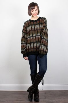 Vintage 1990s Black Brown Green Sweater Oversized Sweater Pullover Jumper 90s Boyfriend Sweater Geometric Striped Cozy Knit L XL Extra Large by ShopTwitchVintage #vintage #etsy #90s #1990s #sweater #jumper #boyfriendsweater #oversized #knit