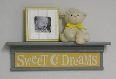 Yellow Gray Nursery  Sweet Dreams on 24 Shelf   by NelsonsGifts, $40.00