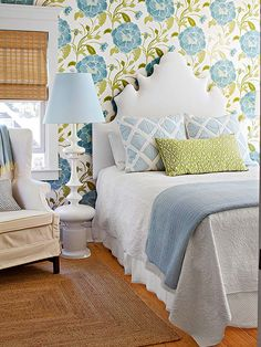 This bold pattern mix is gutsy, but it is softened by the cool blue and green pale tones. A great first step for the pattern shy.