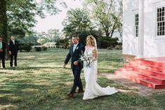 Father of Bride, Bride aisle walk, wedding dress, manor wedding