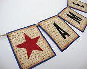 America Banner Americana Primitive Garland July 4th