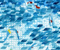 Mugluck Montreal-based illustrator, Swimming pool detail Watercolor City, Watercolour, Its Nice That, Illustrations, Mark Making, Urban Landscape, Swimming Pools, Things To Come, Abstract