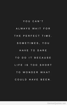 Dont wait for the perfect time quote