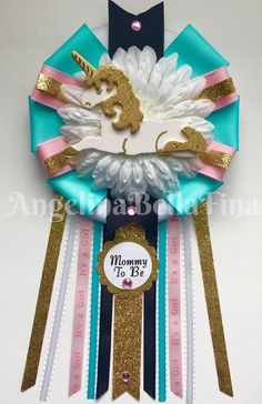 New Unicorn Themed Mommy To Be Corsage available in my Etsy Shop! www.etsy.com/shop/angelinabellafina Baby Shower Cakes, Baby Shower Parties, Baby Shower Themes, Baby Shower Decorations, Shower Ideas, Unicorn Baby Shower, Girl Shower, Unicorn Birthday Parties, Unicorn Party