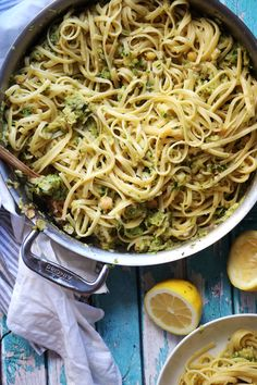 Chickpeas and grated zucchini are sauteed and then mashed into a light but creamy sauce and served over a bed of pasta in this easy weeknight linguine with chickpeas and zucchini. Zucchini Pasta Recipes, Veggie Recipes, Raw Recipes, Orange Recipes, Veggie Food, Healthy Vegetarian Meal Plan, Vegetarian Recipes, Healthy Eating
