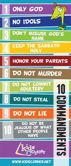10 Commandments Bookmark We've designed a special Kids Corner 10 Commandments Bookmark. This bookmark will be a handy reminder of God's rules for living for you and for your family. Church Activities, Bible Activities, Sabbath Activities, Bible Games, Sunday School Lessons, Sunday School Crafts, College Girls, Bible Study For Kids, Kids Bible