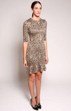 Jersey Marble Knit Dress with Ruffle Hem by Christian Siriano