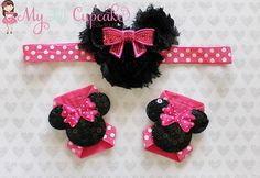 Hot Pink Minnie Mouse Headband and Sandals Set - Minnie Mouse Barefoot Sandals - Hot Pink Minnie Mouse Headband - Minnie Mouse Baby Shoes Minnie Mouse First Birthday, Minnie Mouse Headband, Baby Shower Cupcake Toppers, Pink Minnie, Bare Foot Sandals, Baby Sandals, Diy Hair Bows, Baby Crafts, Baby Disney