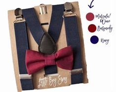 Men Wedding Burgundy Bow Tie Suspenders. Perfect For Ring Bearers, Prom Or Any Special Event  by LittleBoySwag