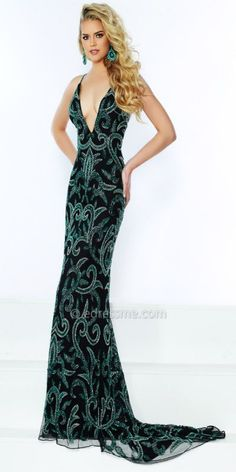 Make a show stopping entrance in the Scroll Beaded Plunging V-Neck Prom  Dress from e2d0837dd