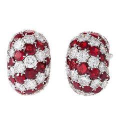 Van Cleef & Arpels Paris Mid-20th Century Diamond Ruby Platinum Earrings
