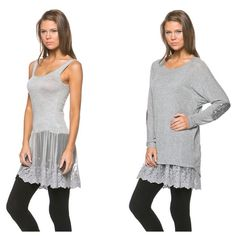 Tops - Gray lace cami extender