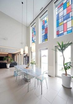 Mondrian Stained Glass Adhesive Window Film