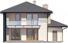 Elewacja tylna projektu Karat Modern House Floor Plans, House Plans, Design Case, Home Fashion, Gazebo, Outdoor Structures, Flooring, Mansions, House Styles