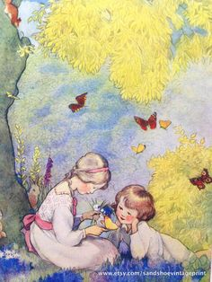 1930s SPRINGTIME BUTTERFLIES WOOD Print Ideal for Framing by sandshoevintageprint on Etsy