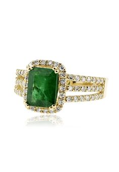 Effy Brasilica 14K Yellow Gold Emerald and Diamond Ring, 2.82 TCW