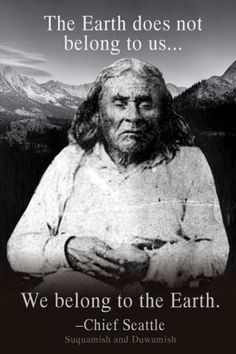 Chief Seattle: The Earth does not belong to us. We belong to the Earth. Native American Spirituality, Native American Wisdom, Native American History, American Indians, American Symbols, The Words, Albert Camus, American Indian Quotes, American Women