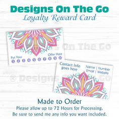 Custom Loyalty Reward Business Card - Independent Consultant - Branding - Marketing - Made to Order - DIY Print - Punch Card - Darling Daisy