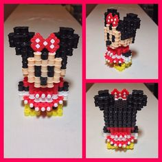 3D Minnie Mouse hama perler art by sicilianguidooo (Original design by voxelperlers)