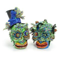 Teal Wedding Day of the Dead Mexican Sugar Wedding Cake Topper C00004