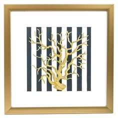 "Contemporary meets nautical in this Gold, Navy & White Striped Coastal Coral Framed Art! This beautiful piece features a metallic gold frame and white mat surrounding a navy and white striped background. A matte and metallic gold coral centers the piece, adding a touch of ocean-inspired charm. Whether your home decor is modern or beach-themed, this piece of art is sure to be a show-stopper! Dimensions: Length: 19 1/4"" Width: 19 1/4"" ..."